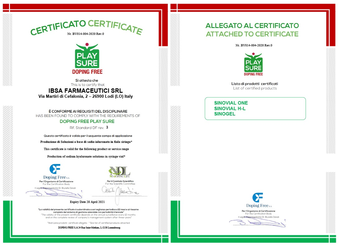 IBSA Doping Free certificate. Hyaluronic acid intra-articular use for athletes